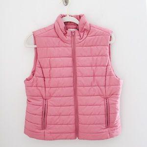 LOFT Puffer Vest Pink Mauve Large